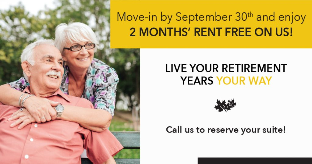 Move in promotion for Barrie, Ontario, Retirement Community