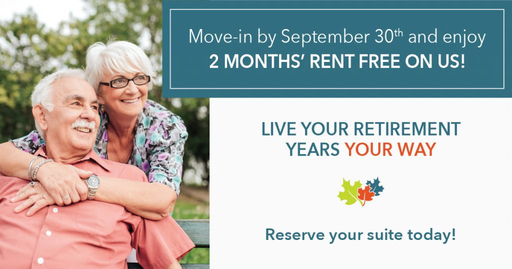 Move in promotion for Retirement Communities